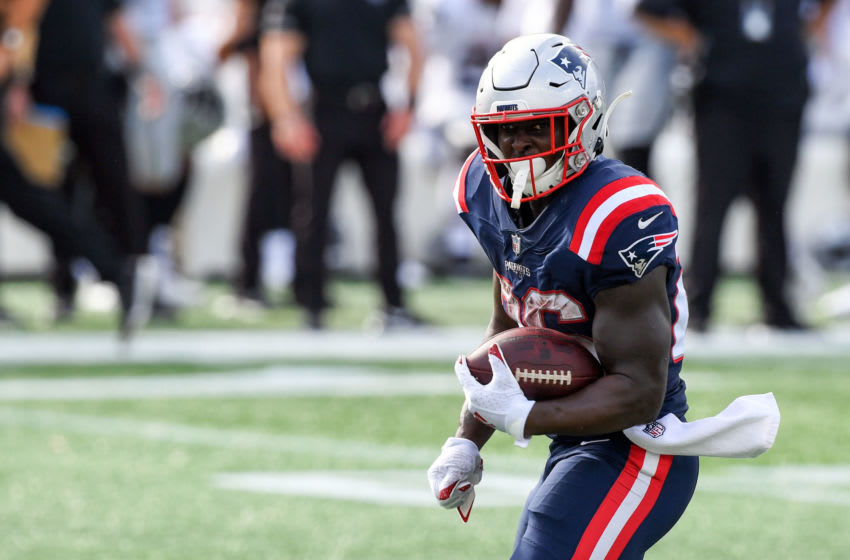 Sep 27, 2020; Foxborough, Massachusetts, USA; New England Patriots running back Sony Michel (26) runs with the ball against the Las Vegas Raiders during the third quarter at Gillette Stadium. Mandatory Credit: Brian Fluharty-USA TODAY Sports