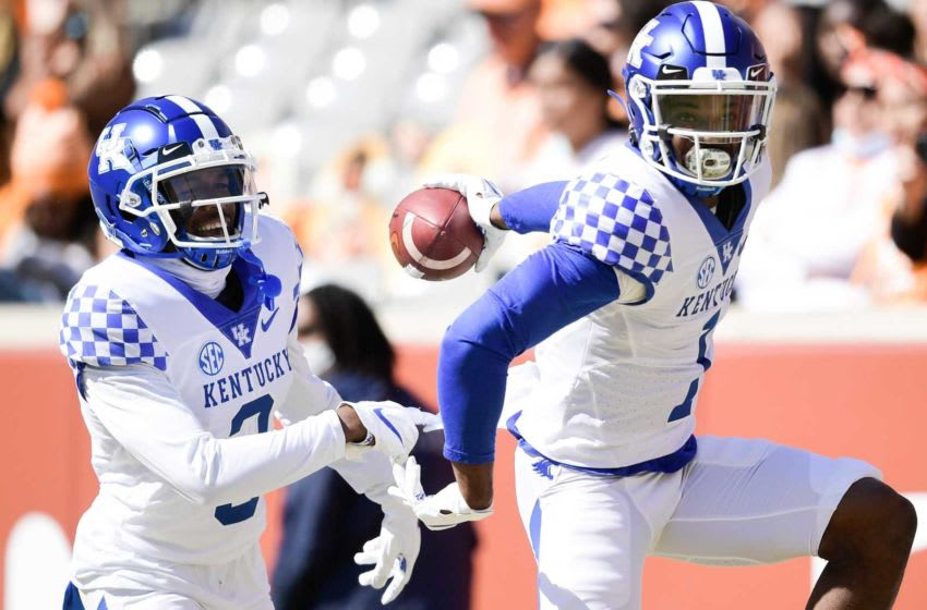 Oct 17, 2020; Knoxville, TN, USA; Kentucky defensive back Kelvin Joseph (1) celebrates a touchdown after making an interception in the second quarter during a game between Tennessee and Kentucky at Neyland Stadium in Knoxville, Tenn. on Saturday, Oct. 17, 2020. Mandatory Credit: Calvin Mattheis-USA TODAY NETWORK