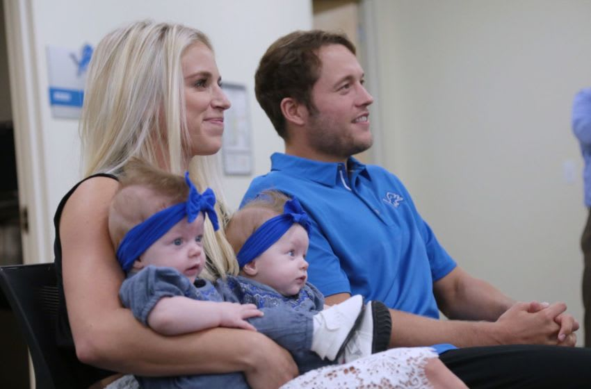 Detroit Lions quarterback Matthew Stafford and his wife Kelly Stafford 082917 Staffordcontract Rg