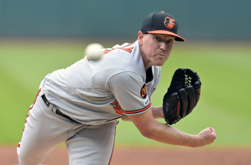 May 16, 2019; Cleveland, OH, USA; Baltimore Orioles starting pitcher Dan Straily (53) delivers in the first inning against the Cleveland Indians at Progressive Field. Mandatory Credit: David Richard-USA TODAY Sports