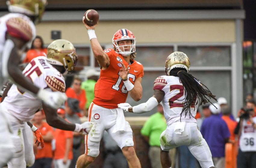 Clemson quarterback Trevor Lawrence (16) throws against Florida State during the second quarter at Memorial Stadium in Clemson, South Carolina Saturday, October 12, 2019. Clemson Fsu 2019