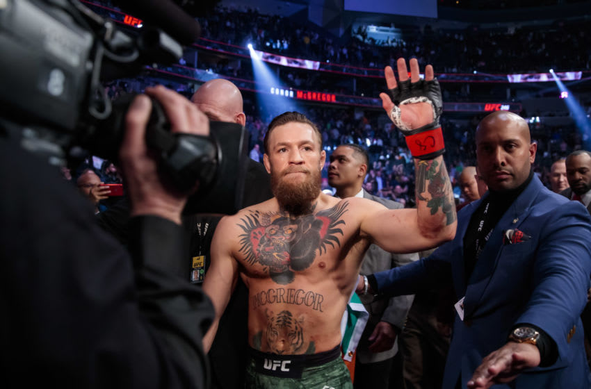 January 18, 2020; Las Vegas, Nevada, USA; Conor McGregor celebrates his first round TKO victory against Donald Cerrone following UFC 246 at T-Mobile Arena. Mandatory Credit: Mark J. Rebilas-USA TODAY Sports