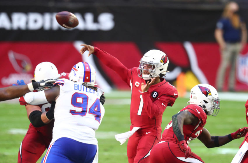 Nov 15, 2020; Glendale, Arizona, USA; Arizona Cardinals quarterback Kyler Murray (1) throws a pass against the Buffalo Bills in the second quarter at State Farm Stadium. Mandatory Credit: Mark J. Rebilas-USA TODAY Sports