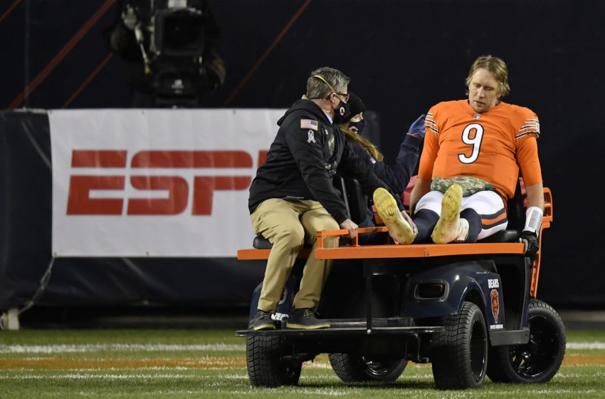 Nov 16, 2020; Chicago, Illinois, USA; Chicago Bears quarterback Nick Foles (9) leaves the game in the second half after an apparent injury Mandatory Credit: Quinn Harris-USA TODAY Sports