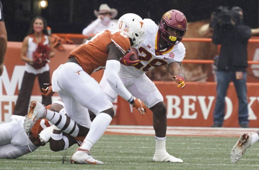 Iowa State Cyclones running back Breece Hall (28) runs for yards during the first quarter of the game against the Texas Longhorns at Darrell K Royal-Texas Memorial Stadium. Mandatory Credit: Scott Wachter-USA TODAY Sports
