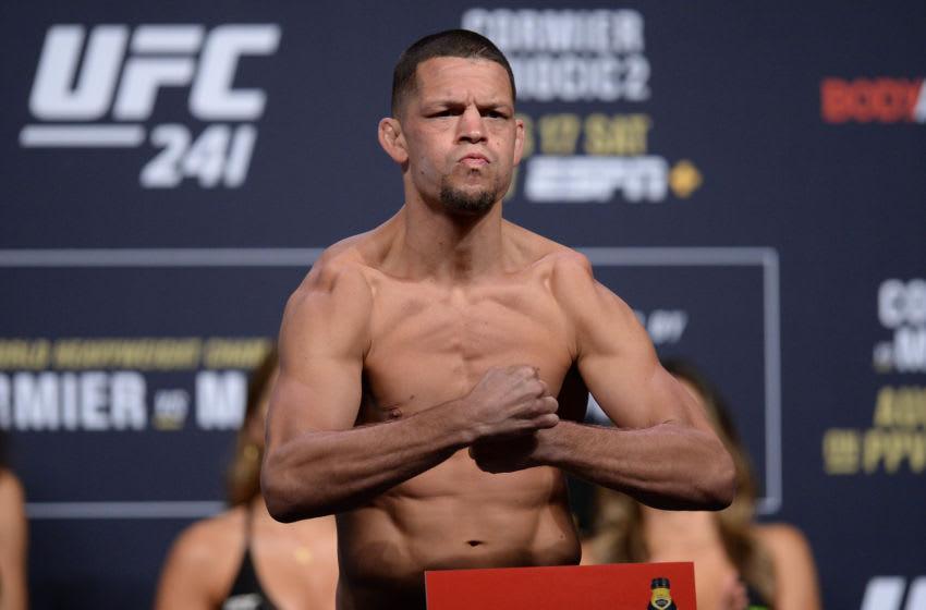 Aug 16, 2019; Anaheim, CA, USA; Nate Diaz during weigh ins for UFC 241 at Anaheim Convention Center. Mandatory Credit: Gary A. Vasquez-USA TODAY Sports