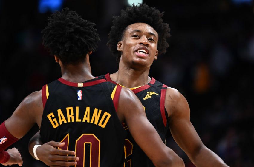 Jan 11, 2020; Denver, Colorado, USA; Cleveland Cavaliers guard Collin Sexton (2) and guard Darius Garland (10) Mandatory Credit: Ron Chenoy-USA TODAY Sports