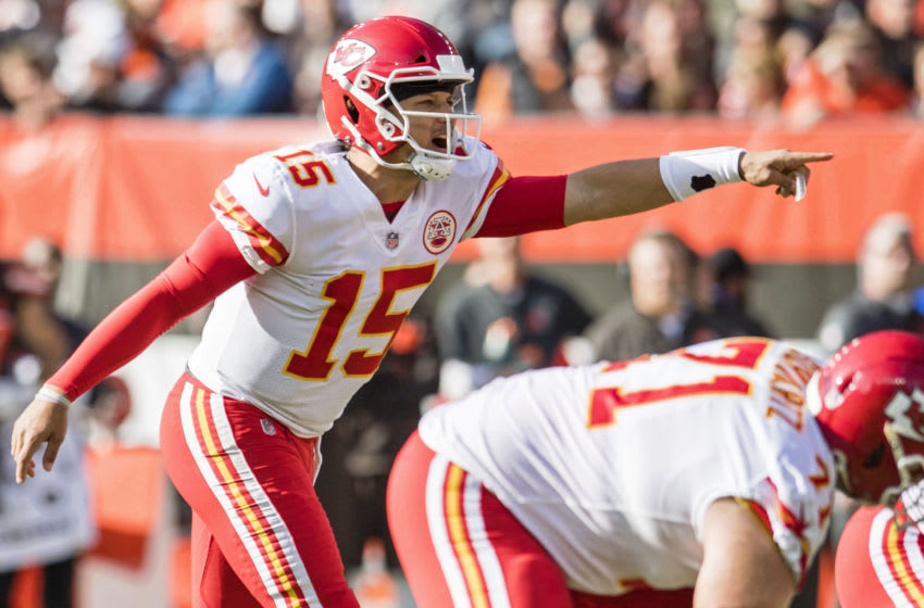 Nov 4, 2018; Cleveland, OH, USA; Kansas City Chiefs quarterback Patrick Mahomes (15) makes a call during the first half against the Cleveland Browns at FirstEnergy Stadium. Mandatory Credit: Ken Blaze-USA TODAY Sports