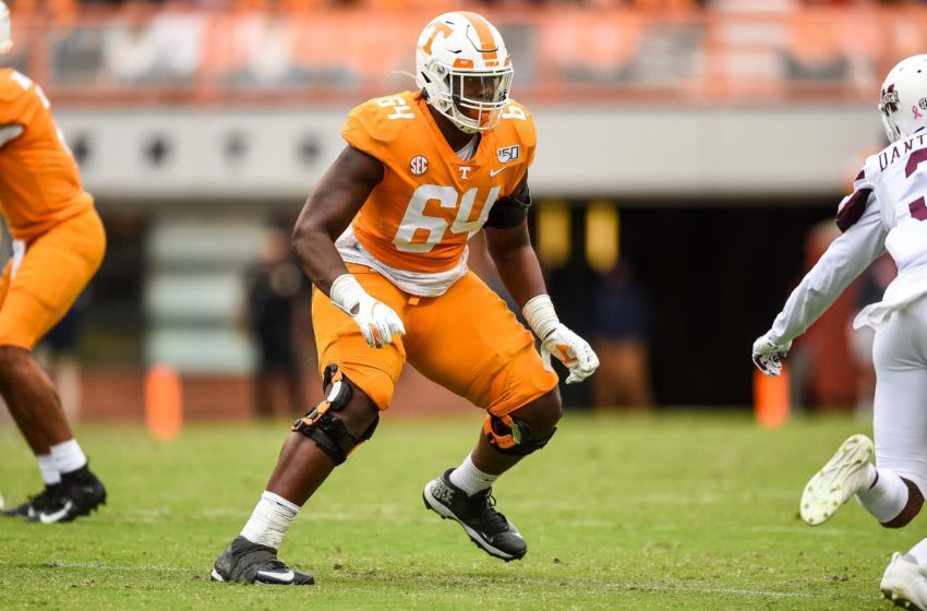 Tennessee Volunteers offensive lineman Wanya Morris (64) blocking during the second half of a game against the Mississippi State Bulldogs at Neyland Stadium. Mandatory Credit: Bryan Lynn-USA TODAY SportsOct 12, 2019; Knoxville, TN, USA; Tennessee Volunteers offensive lineman Wanya Morris (64) blocking during the second half of a game against the Mississippi State Bulldogs at Neyland Stadium. Mandatory Credit: Bryan Lynn-USA TODAY Sports