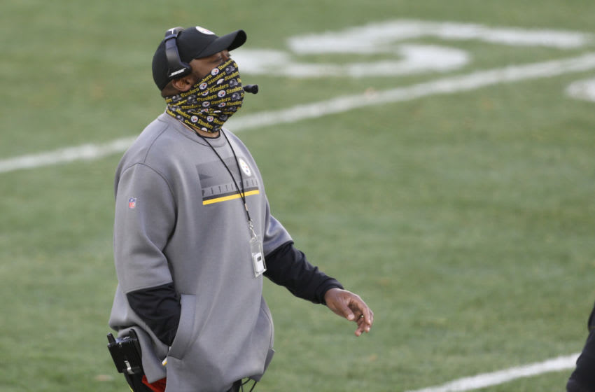 Dec 27, 2020; Pittsburgh, Pennsylvania, USA; Pittsburgh Steelers head coach Mike Tomlin looks on from the sidelines against the Indianapolis Colts during the fourth quarter at Heinz Field. Pittsburgh won 28-24. Mandatory Credit: Charles LeClaire-USA TODAY Sports