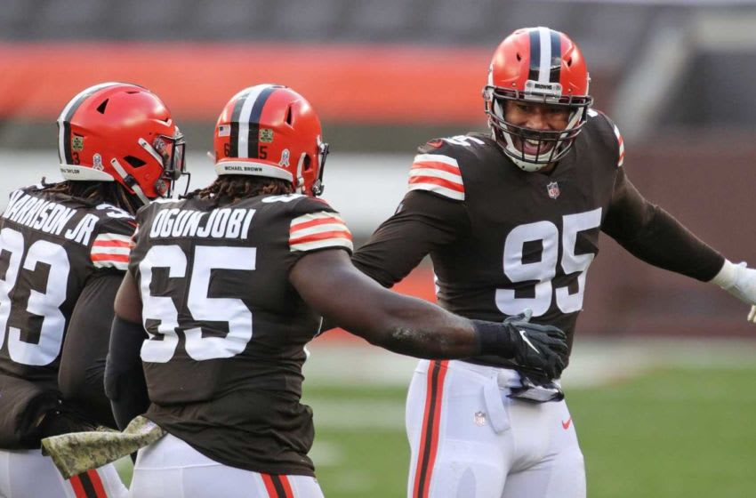Cleveland Browns defensive end Myles Garrett (95) celebrates with teammates after a sack during the first half of an NFL football game against the Houston Texans, Sunday, Nov. 15, 2020, in Cleveland, Ohio. [Jeff Lange/Beacon Journal] Browns 10