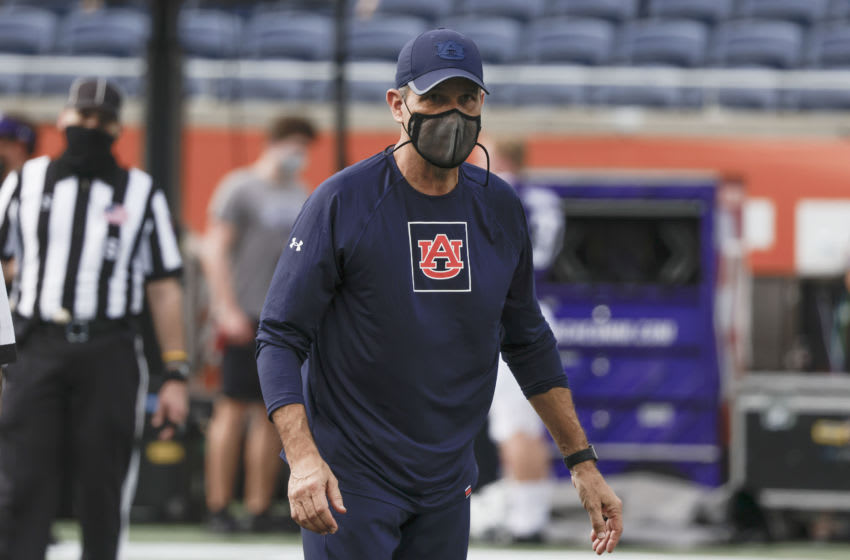 Auburn Tigers interim head coach Kevin Steele walks on the field before the game against the Northwestern Wildcats at Camping World Stadium. Mandatory Credit: Reinhold Matay-USA TODAY Sports