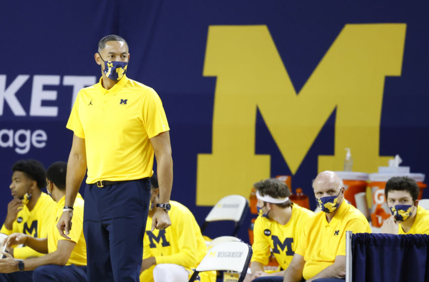 Michigan Wolverines head coach Juwan Howard looks on from the bench area in the first half against the Minnesota Golden Gophers at Crisler Center. Mandatory Credit: Rick Osentoski-USA TODAY Sports