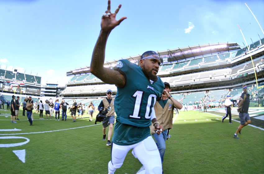 Philadelphia Eagles wide receiver DeSean Jackson (10) runs off the field after win against the Washington Redskins at Lincoln Financial Field. Mandatory Credit: Eric Hartline-USA TODAY Sports