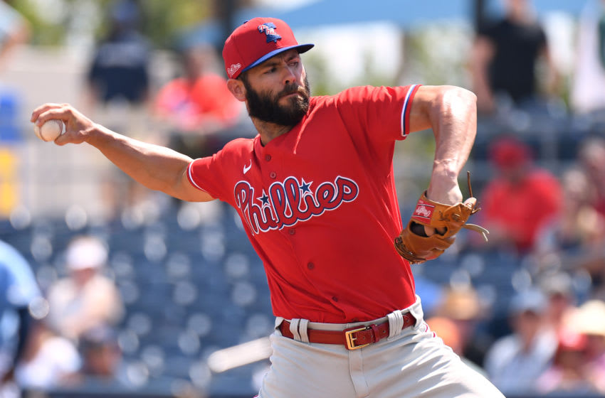 Mar 12, 2020; Port Charlotte, Florida, USA; Philadelphia Phillies starting pitcher Jake Arrieta (49) throws a pitch in the first inning against the Tampa Bay Rays at Charlotte Sports Park. Mandatory Credit: Jonathan Dyer-USA TODAY Sports