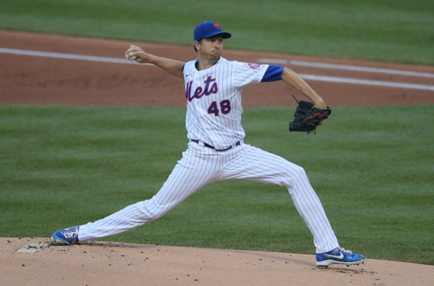 Jul 29, 2020; New York City, New York, USA; New York Mets starting pitcher Jacob DeGrom (48) pitches against the Boston Red Sox during the first inning at Citi Field. Mandatory Credit: Brad Penner-USA TODAY Sports