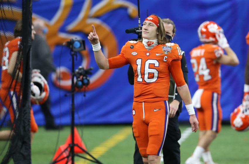 Jan 1, 2021; New Orleans, LA, USA; Clemson Tigers quarterback Trevor Lawrence (16) reacts after the game against the Ohio State Buckeyes at Mercedes-Benz Superdome. Mandatory Credit: Chuck Cook-USA TODAY Sports