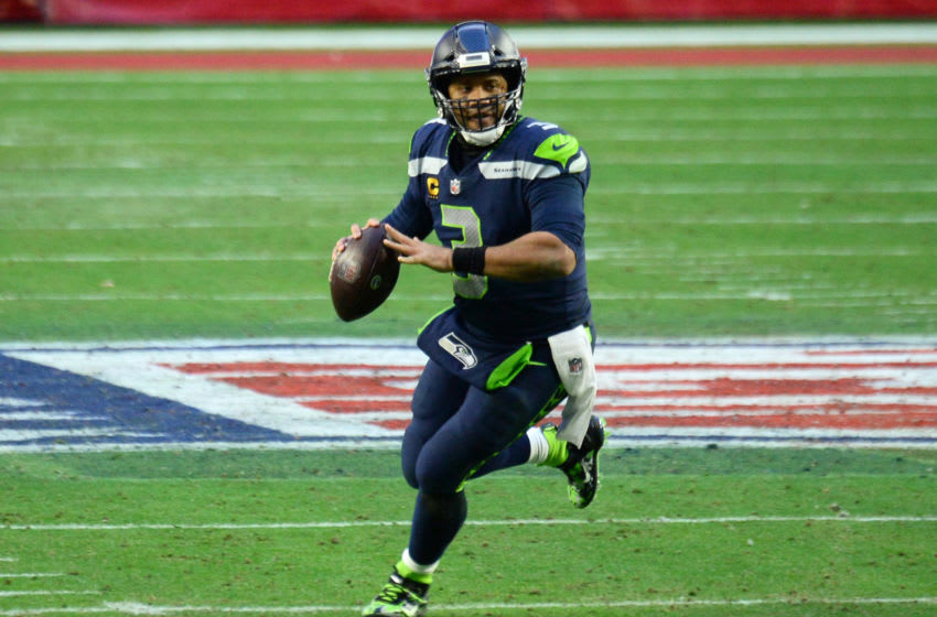 Jan 3, 2021; Glendale, Arizona, USA; Seattle Seahawks quarterback Russell Wilson (3) throws a pass against the San Francisco 49ers during the second half at State Farm Stadium. Mandatory Credit: Joe Camporeale-USA TODAY Sports