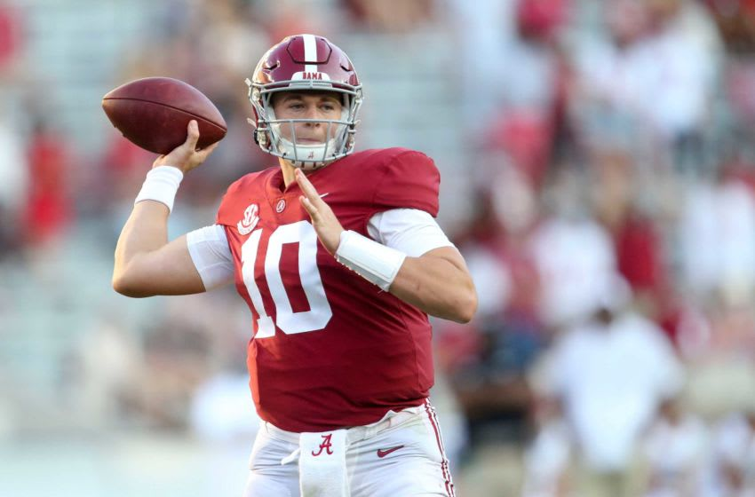 Alabama quarterback Mac Jones (10) throws during Alabama's game with Texas A&M Saturday, Oct. 3, 2020, in Bryant-Denny Stadium. [Staff Photo/Gary Cosby Jr.] Alabama Vs Texas A M
