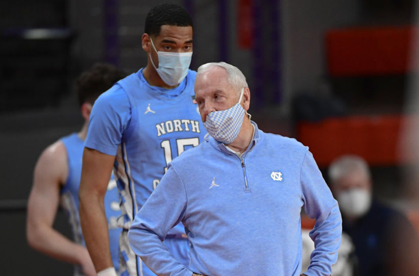 North Carolina head coach Roy Williams during the first half against Clemson at Littlejohn Coliseum. Mandatory Credit: Ken Ruinard-USA TODAY Sports