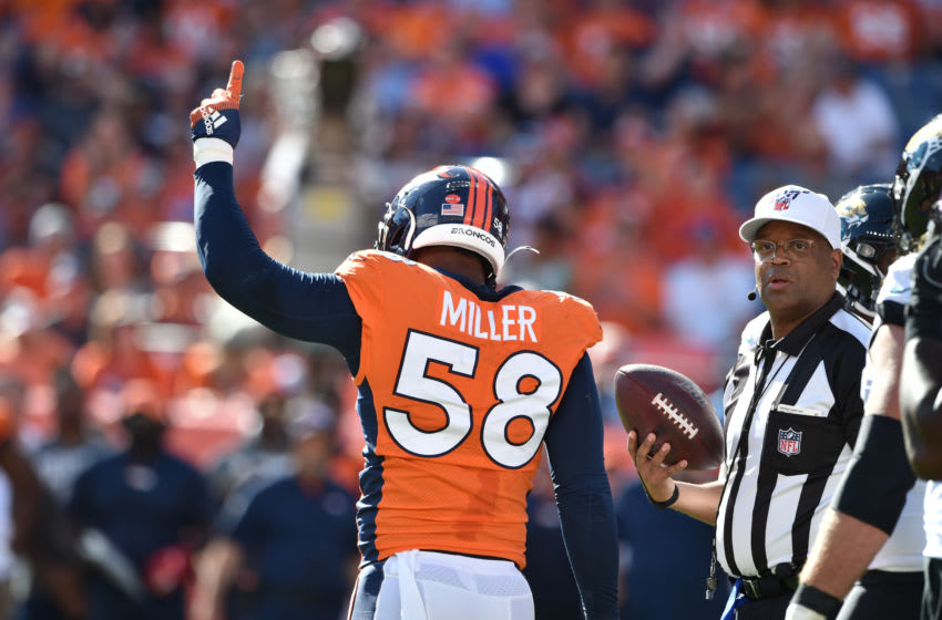 Sep 29, 2019; Denver, CO, USA; Denver Broncos outside linebacker Von Miller (58) celebrates his 100th career sack at Empower Field at Mile High. Mandatory Credit: Michael Madrid-USA TODAY Sports