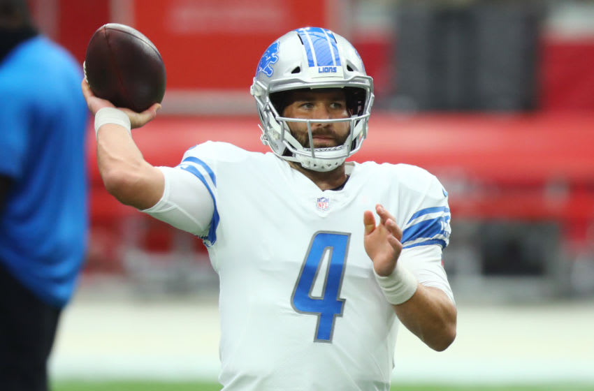 Sep 27, 2020; Glendale, Arizona, USA; Detroit Lions quarterback Chase Daniel (4) throws a pass prior to the game against the Arizona Cardinals at State Farm Stadium. Mandatory Credit: Billy Hardiman-USA TODAY Sports