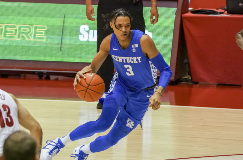 Kentucky Wildcats guard Brandon Boston Jr. (3) drives to the basket against Alabama Crimson Tide during the first half at Coleman Coliseum. Mandatory Credit: Marvin Gentry-USA TODAY Sports
