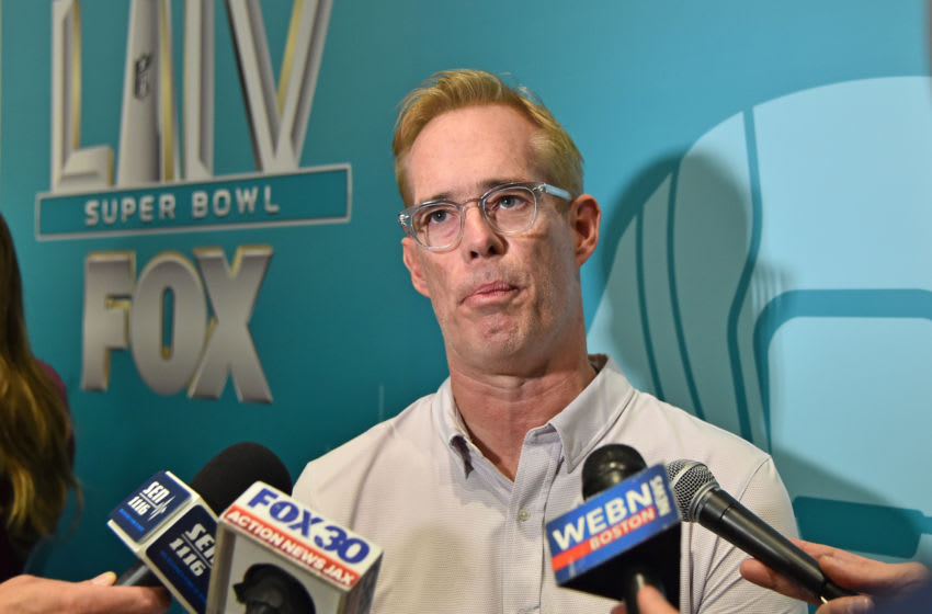 Fox Sports broadcaster Joe Buck speaks with the media during Fox Sports media day at the Miami Beach convention center. Mandatory Credit: Jasen Vinlove-USA TODAY Sports