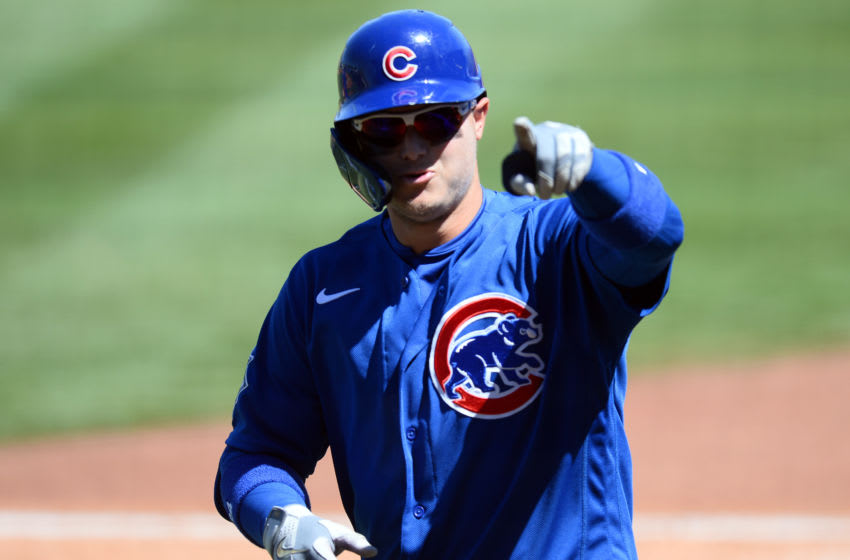 Mar 28, 2021; Surprise, Arizona, USA; Chicago Cubs outfielder Joc Pederson celebrates after hitting a home run against the Texas Rangers during the third inning of a spring training game at Surprise Stadium. Mandatory Credit: Joe Camporeale-USA TODAY Sports