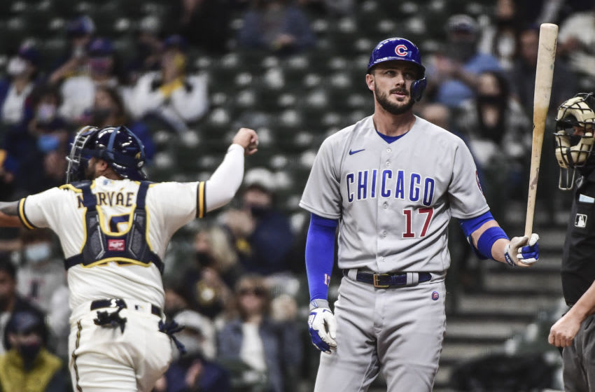 Apr 12, 2021; Milwaukee, Wisconsin, USA; Chicago Cubs third baseman Kris Bryant (17) reacts after striking out in the first inning during the game against the Milwaukee Brewers at American Family Field. Mandatory Credit: Benny Sieu-USA TODAY Sports