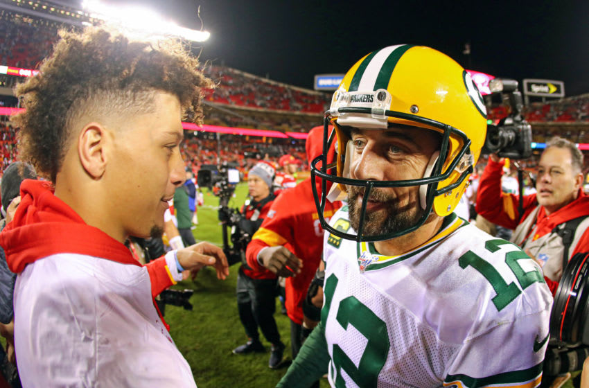 Chiefs QB Patrick Mahomes and Packers QB Aaron Rodgers. (Jay Biggerstaff-USA TODAY Sports)