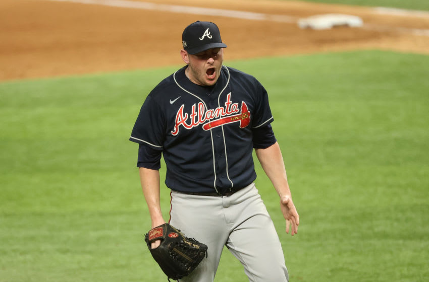 Oct 18, 2020; Arlington, Texas, USA; Atlanta Braves relief pitcher Tyler Matzek (68) reacts after the fourth inning against the Los Angeles Dodgers during game seven of the 2020 NLCS at Globe Life Field. Mandatory Credit: Kevin Jairaj-USA TODAY Sports