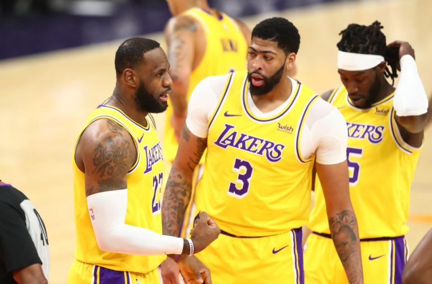 Lakers teammates Anthony Davis and LeBron James. (Mark J. Rebilas-USA TODAY Sports)