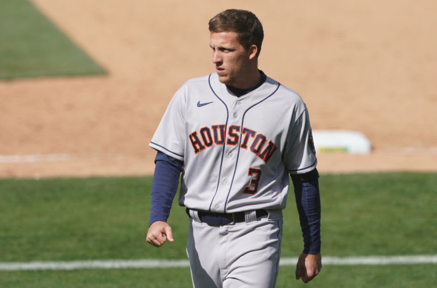 Myles Straw, Houston Astros. (Mandatory Credit: Darren Yamashita-USA TODAY Sports)