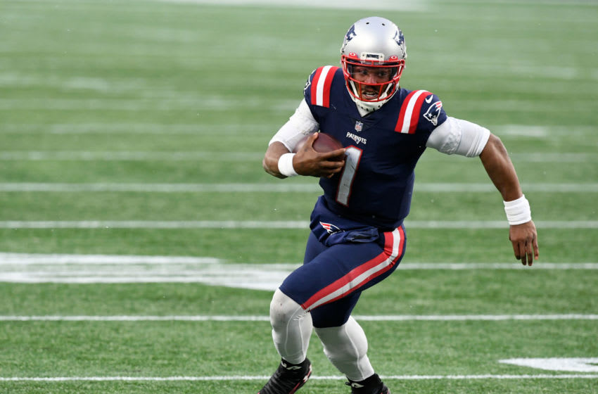New England Patriots quarterback Cam Newton.  Mandatory Credit: Brian Fluharty-USA TODAY Sports