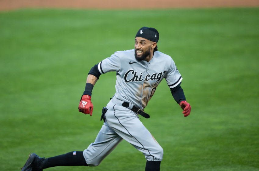 May 17, 2021; Minneapolis, Minnesota, USA; Chicago White Sox center fielder Billy Hamilton (0) rounds third base and attempts to score during the fifth inning against the Minnesota Twins at Target Field. Mandatory Credit: Jordan Johnson-USA TODAY Sports