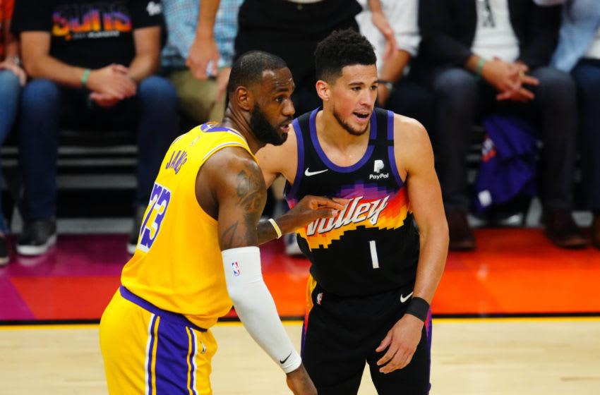 LeBron James, Los Angeles Lakers, Devin Booker, Phoenix Suns. (Mandatory Credit: Mark J. Rebilas-USA TODAY Sports)
