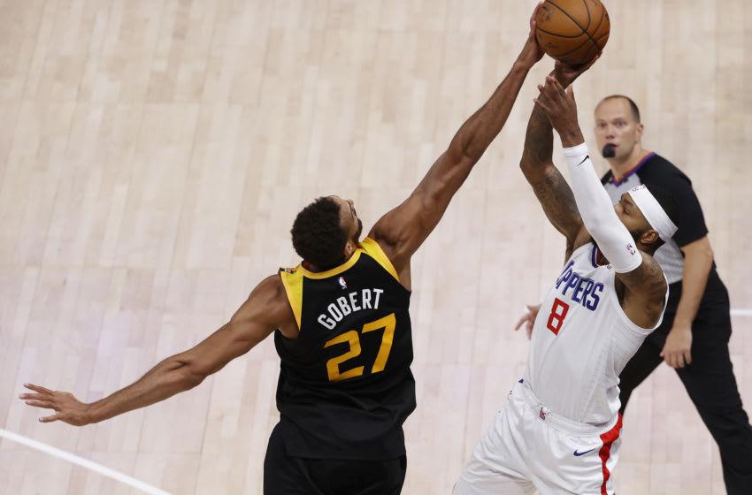 Rudy Gobert, Utah Jazz, Marcus Morris, LA Clippers. (Mandatory Credit: Jeffrey Swinger-USA TODAY Sports)