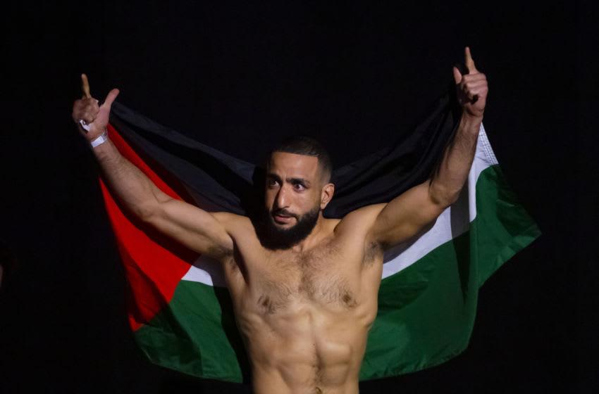 Jun 11, 2021; Glendale, Arizona, USA; UFC fighter Belal Muhammad during weigh ins for UFC 263 at Gila River Arena. Mandatory Credit: Mark J. Rebilas-USA TODAY Sports