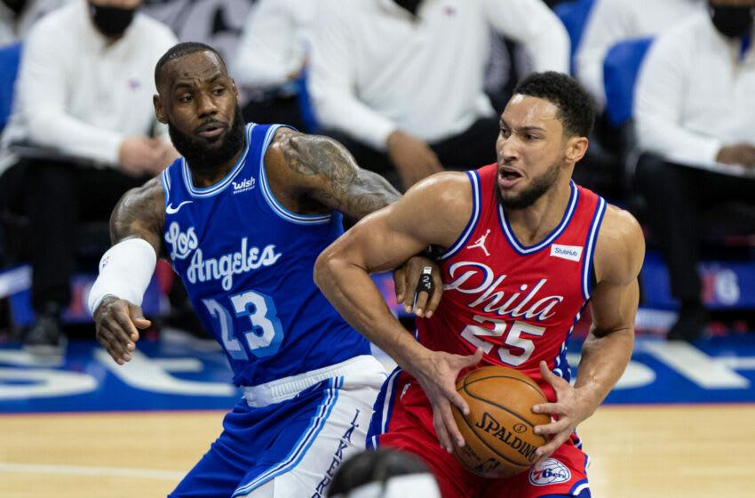 Ben Simmons, Philadelphia 76ers, LeBron James, Los Angeles Lakers. (Mandatory Credit: Bill Streicher-USA TODAY Sports)