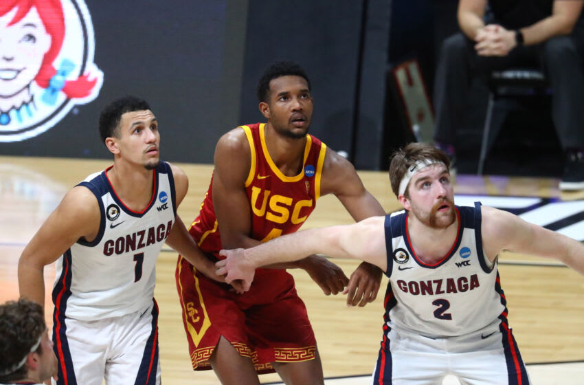Gonzaga Bulldogs guard Jalen Suggs (1) and forward Drew Timme (2) against Southern California Trojans forward Evan Mobley (4) during the Elite Eight of the 2021 NCAA Tournament at Lucas Oil Stadium. Mandatory Credit: Mark J. Rebilas-USA TODAY Sports