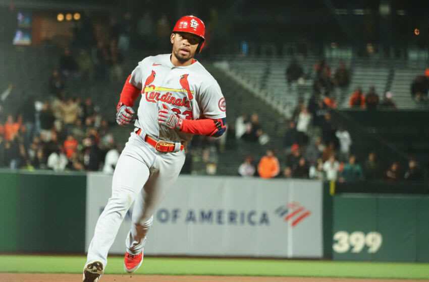 Jul 6, 2021; San Francisco, California, USA; St. Louis Cardinals second baseman Edmundo Sosa (63) rounds third base on a solo home run against the San Francisco Giants during the eighth inning at Oracle Park. Mandatory Credit: Kelley L Cox-USA TODAY Sports