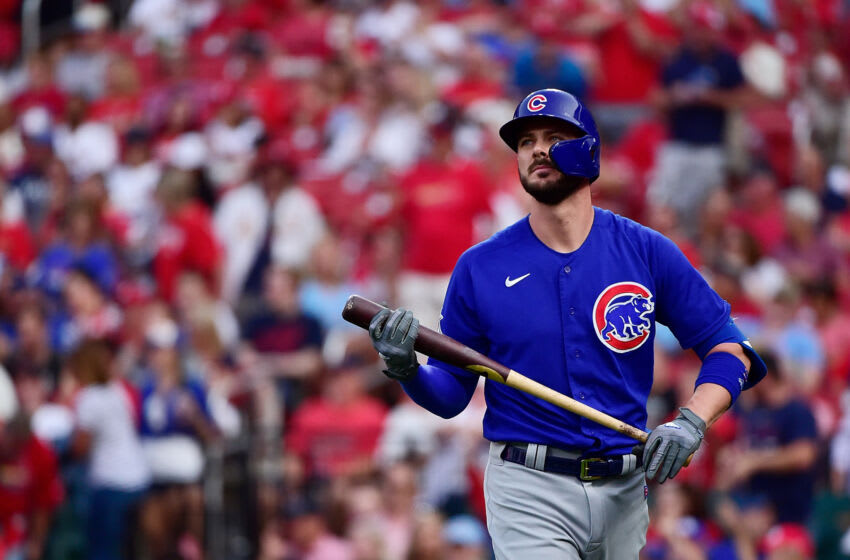 Jul 19, 2021; St. Louis, Missouri, USA; Chicago Cubs left fielder Kris Bryant (17) walks back to the dugout after striking out during the first inning against the St. Louis Cardinals at Busch Stadium. Mandatory Credit: Jeff Curry-USA TODAY Sports