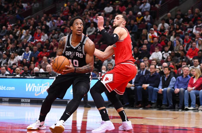 DeMar DeRozan, San Antonio Spurs, Zach LaVine, Chicago Bulls. (Mandatory Credit: Mike Dinovo-USA TODAY Sports)