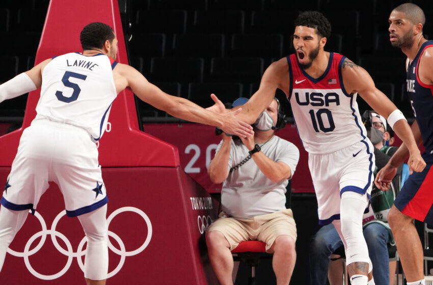 Jayson Tatum, Zach LaVine, Team USA. (Mandatory Credit: Kyle Terada-USA TODAY Sports)