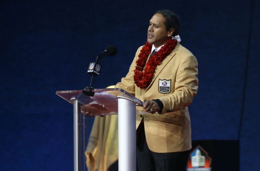 Aug 7, 2021; Canton, Ohio, USA; Class of 2020 member Troy Polamalu speaks during his Professional Football HOF enshrinement ceremonies at Tom Benson Hall of Fame Stadium. Mandatory Credit: Charles LeClaire-USA TODAY Sports