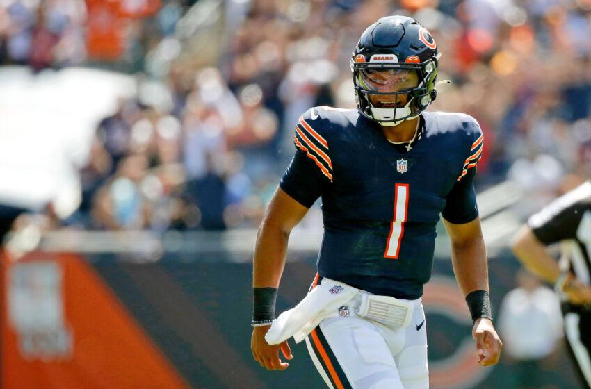 Justin Fields, Chicago Bears. (Mandatory Credit: Jon Durr-USA TODAY Sports)