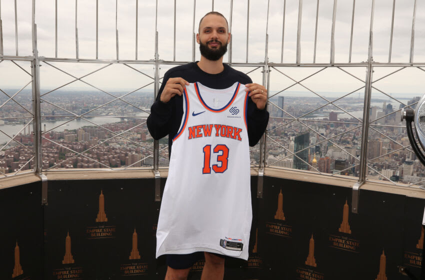 Aug 17, 2021; New York, New York, USA; New York Knicks guard Evan Fournier (13) poses for a photo during a photo shoot on the 86th floor observation deck of the Empire State Building. Mandatory Credit: Brad Penner-USA TODAY Sports