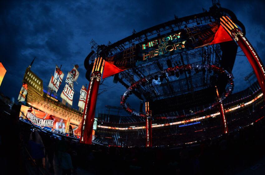 Apr 10, 2021; Tampa, Florida, USA; A general view of the ring prior to WrestleMania 37 at Raymond James Stadium. Mandatory Credit: Joe Camporeale-USA TODAY Sports