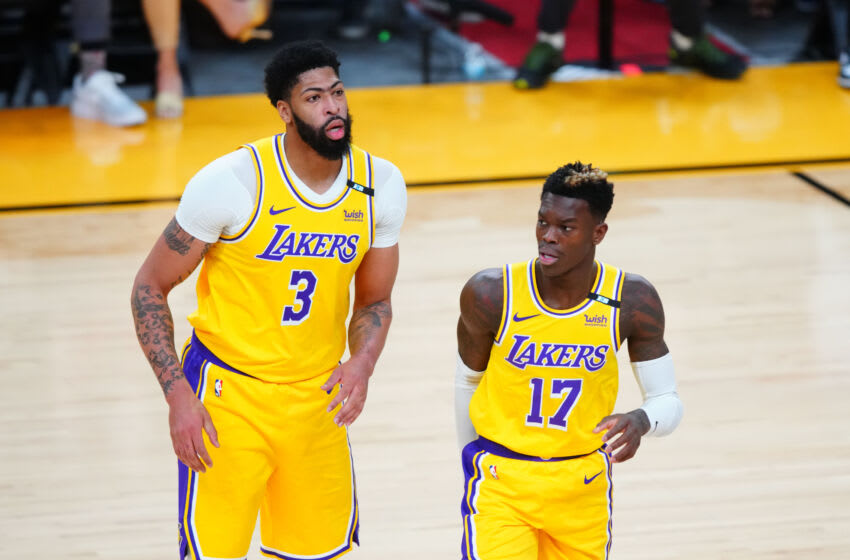 Anthony Davis, Dennis Schroder, Los Angeles Lakers. (Mandatory Credit: Mark J. Rebilas-USA TODAY Sports)